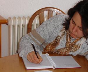Ich beim schreiben
