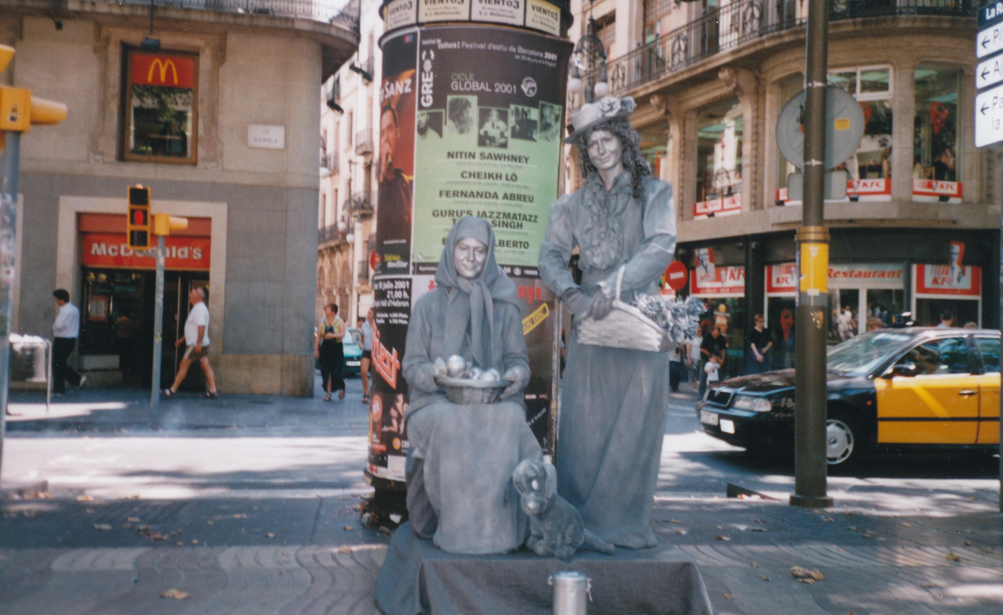 Auf den Ramblas in Barcelona. Noch mit Mona zusammen. :-)